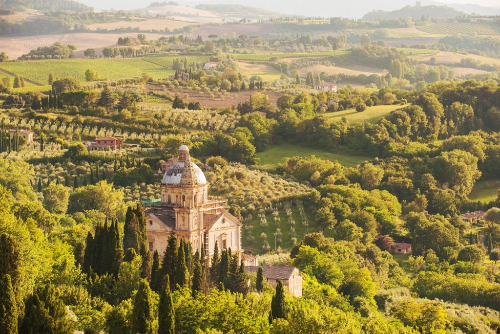 Church of San Biagio in Montepulciano surrounded by Tuscan countryside